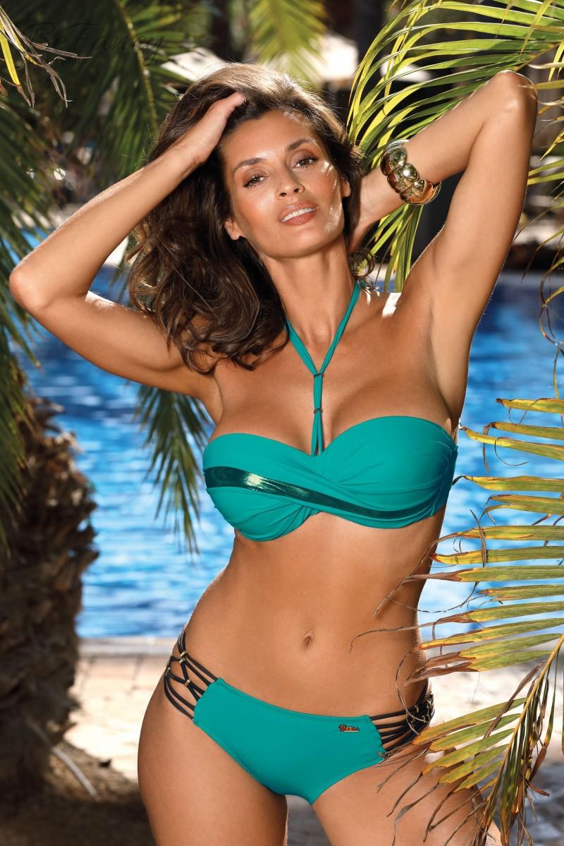 Csavart hatású levehető nyakpántos push-up bikini fényes csíkkal, klasszikus oldalán pántos alsóval Ofelia Luxury M-559 zöld