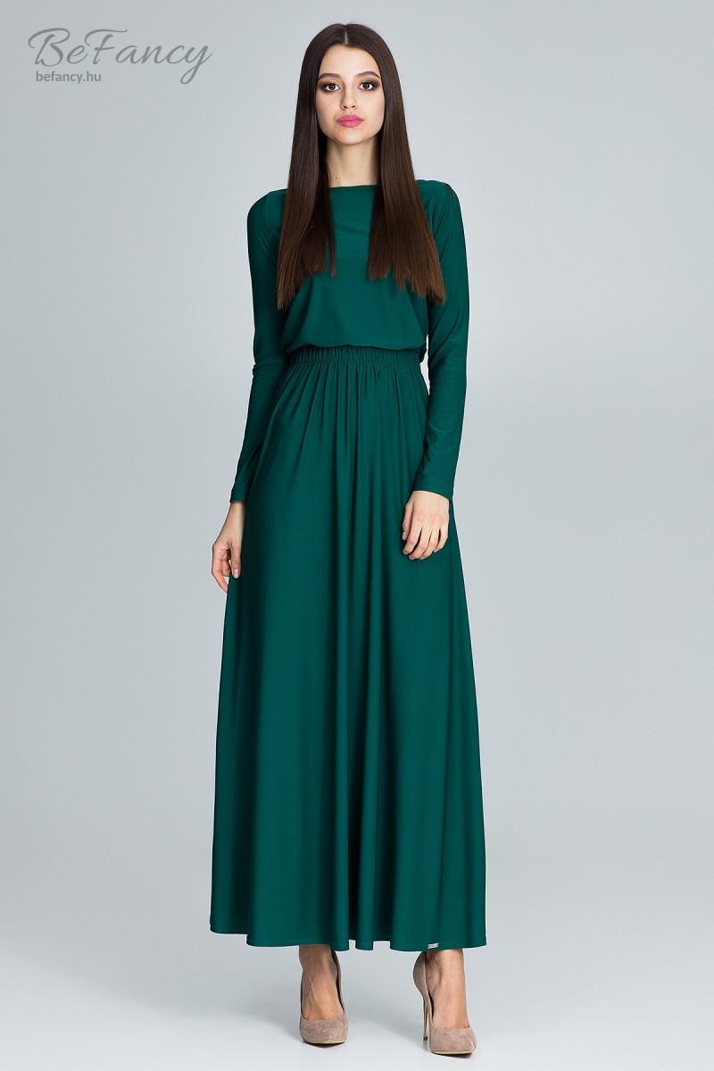 Letisztult fazonú hosszú ujjú ruha bő maxi szoknyával M604 zöld