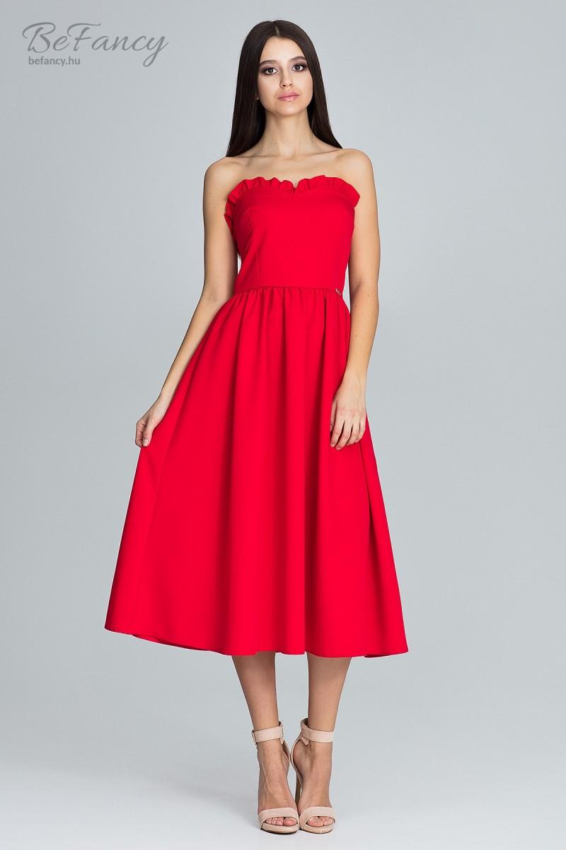 Romantikus pánt nélküli fodros alkalmi ruha M602 piros